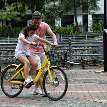 father, dad, girl, bicycle