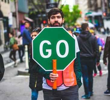 attention, green, go, traffic light, sign