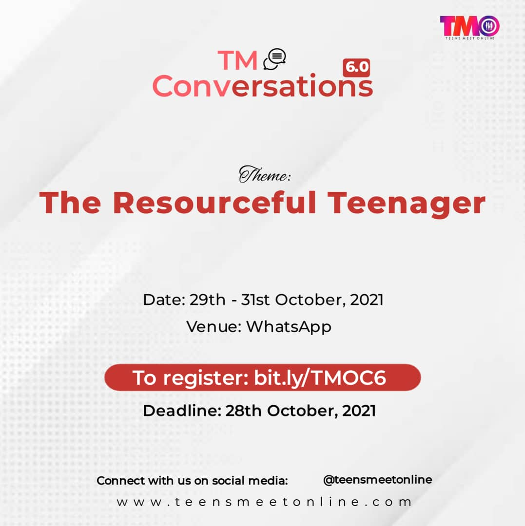 Register for TMO Conversations 6.0 – The Resourceful Teenager